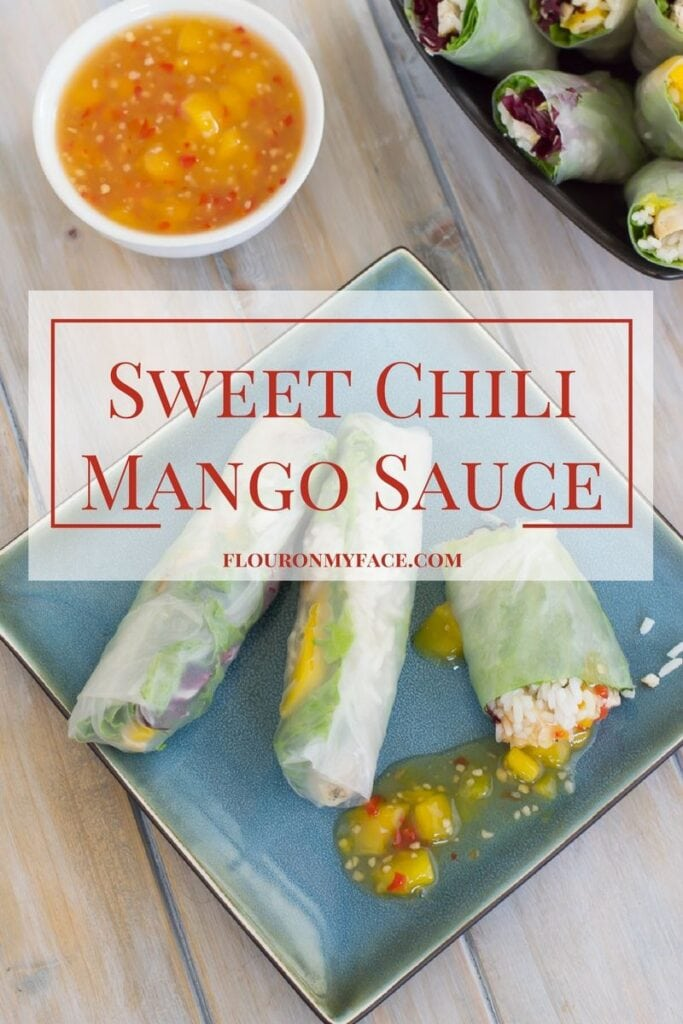 Sweet Chili Mango Sauce recipe is a perfect spring roll dipping sauce or served with grilled chicken or grilled fish via flouronmyface.com