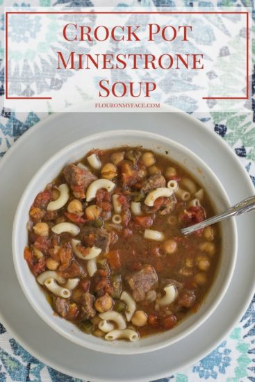 Crock Pot Minestrone Soup recipe with pasta and beef stew meat via flouronmyface.com