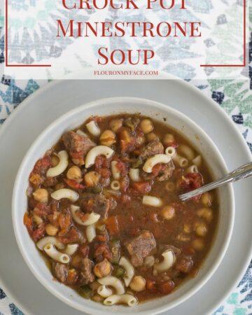 Crock Pot MInetrone Soup recipe via flouronmyface.com