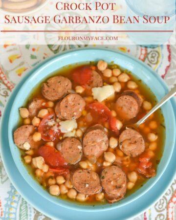 Crock Pot Sausage Garbanzo Bean SOup is packed full of flavor and fiber via flouronmyface.com