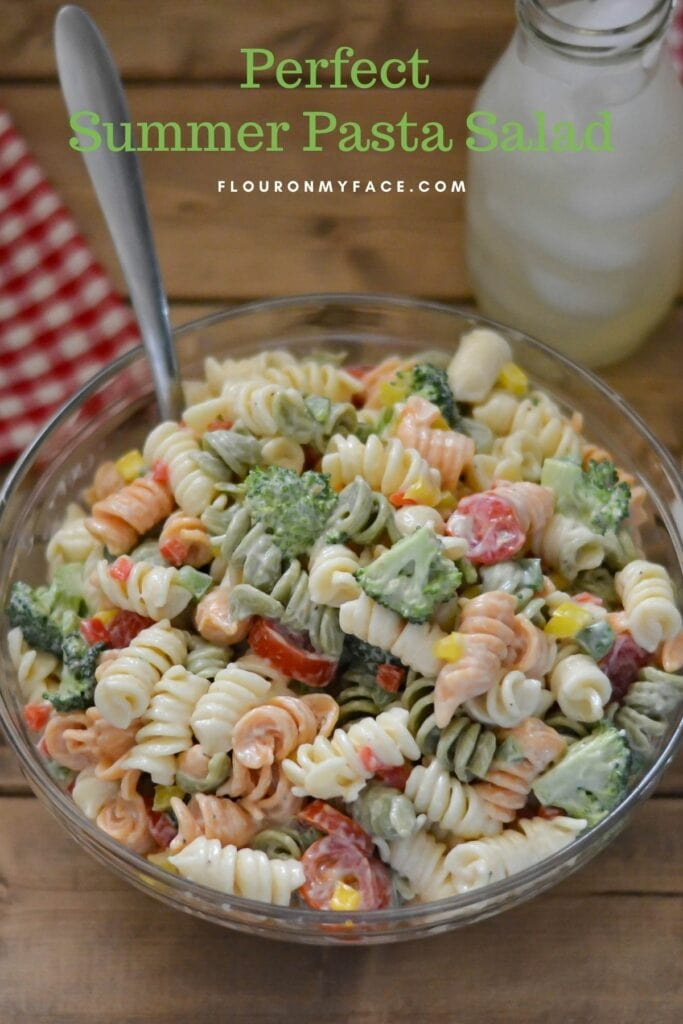 A large bowl filled with pasta salad.