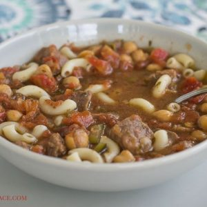 Crock Pot slow cooker Minestrone Soup is budget friendly, healthy and tastes delicious via flouronmyface.com