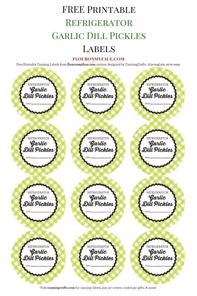FREE Refrigerator Garlic Dill Pickles Canning Label via flouronmyface.com