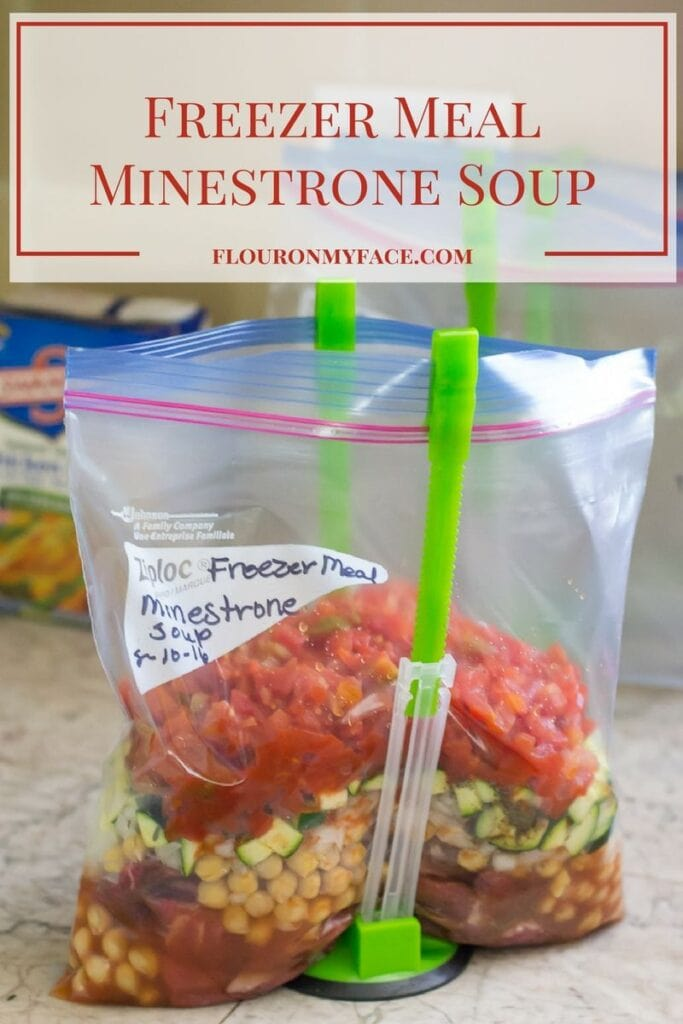 Freezer Meals: Minestrone Soup recipe you can make in the crock pot or on the stove. Instructions for both cooking methods included via flouronmyface.com