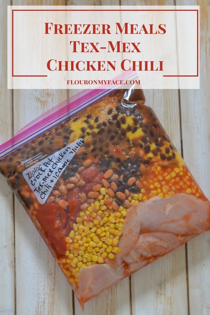 Freezer Meals Tex-Mex Chicken Chili recipe via flouronmyface.com