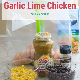 How to make freezer meal Crock Pot Garlic Lime Chicken Salsa Soup recipe via flouronmyface.com