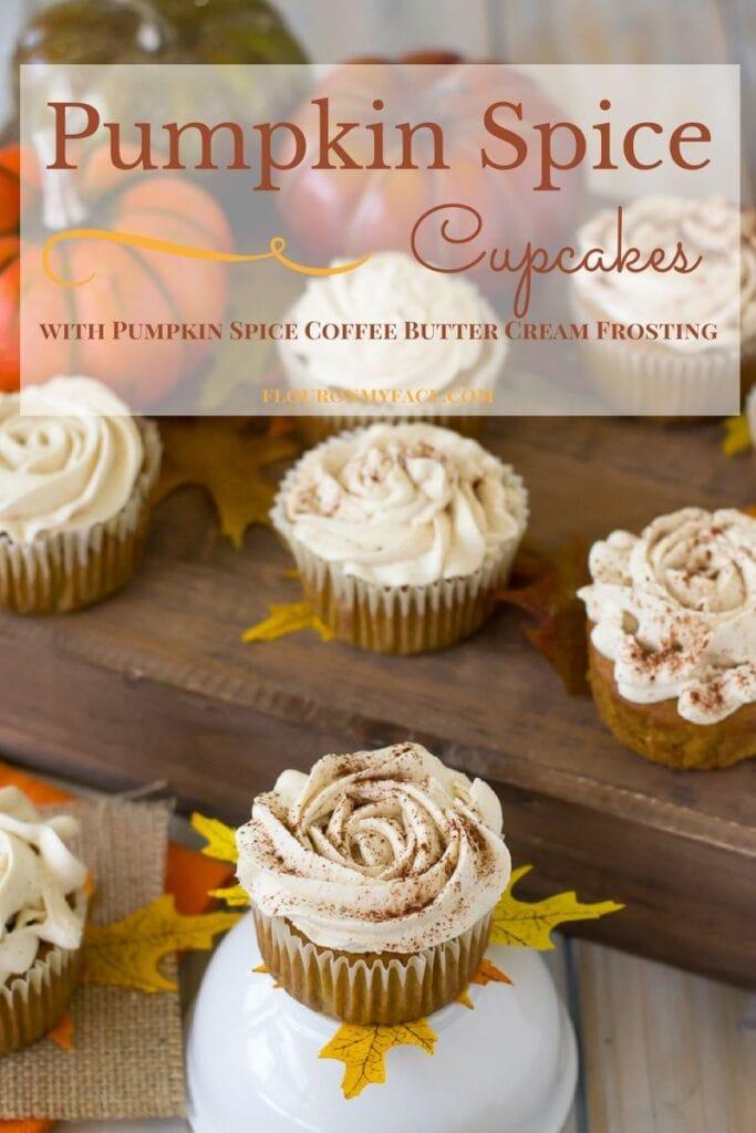 Pumpkin Spice Cupcakes with Pumpkin Spice Coffee Butter Cream Frosting via flouronmyface.com