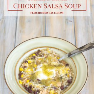 Crock Pot Slow Cooker Garlic Lime Salsa Soup recipe via flouronmyface.com