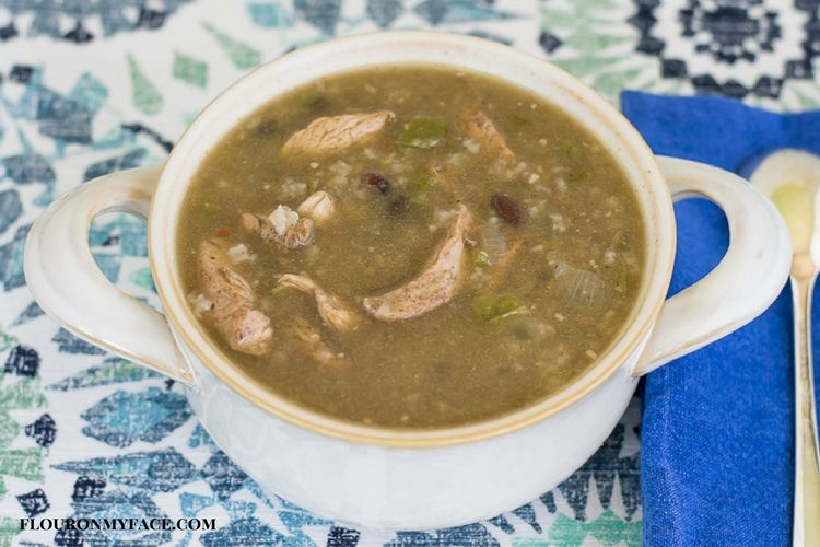 Crock Pot Slow Cooker Jerk Chicken Soup recipe via flouronmyface.com