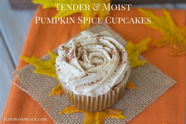 Tender and moist Pumpkin Spice Cupcakes recipe with Pumpkin Spice Coffee Butter Cream Frosting via flouronmyface.com #ad