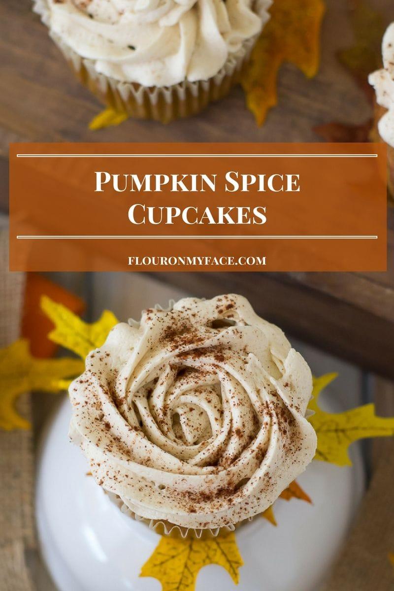 Pumpkin Spice Cupcakes with Butter Cream Frosting recipe via flouronmyface.com