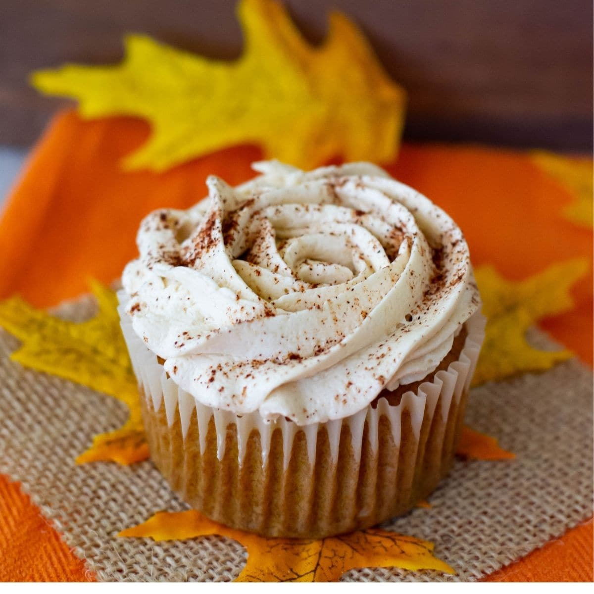 One Pumpkin Spice Cupcake on a fall tabletop.
