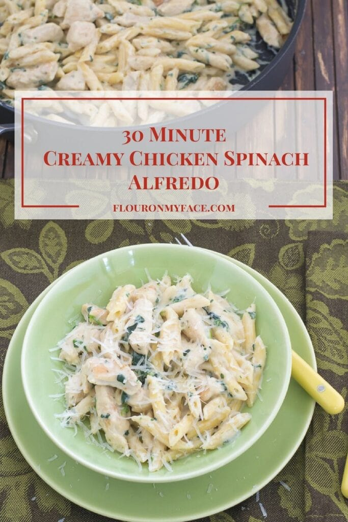 30 Minute Creamy Chicken Spinach Alfredo recipe for when you need to get dinner on the table fast via flouronmyface.com #ad #MarieFreshTake #MarieFreshTakeSweeps