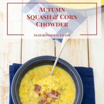 Autumn Squash and Corn Chowder recipe with this weeks Target Deals buy 3 get 1 free via flouronmyface.com #ad #FallFamilyCooking