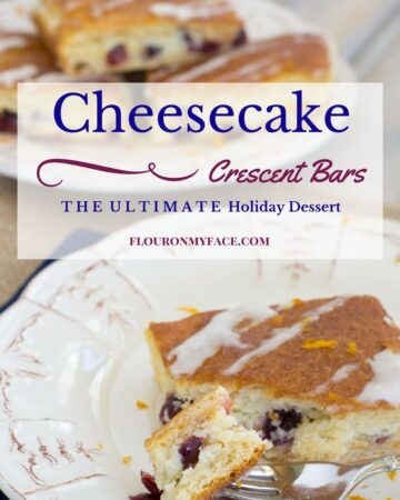 Cheesecake Crescent Bars served with a cup of coffee are the ending to your holiday meal. Cranberry Cheesecake is pillowed between two sheets of Pillsbury Crescent rolls. Get this easy holiday dessert recipe