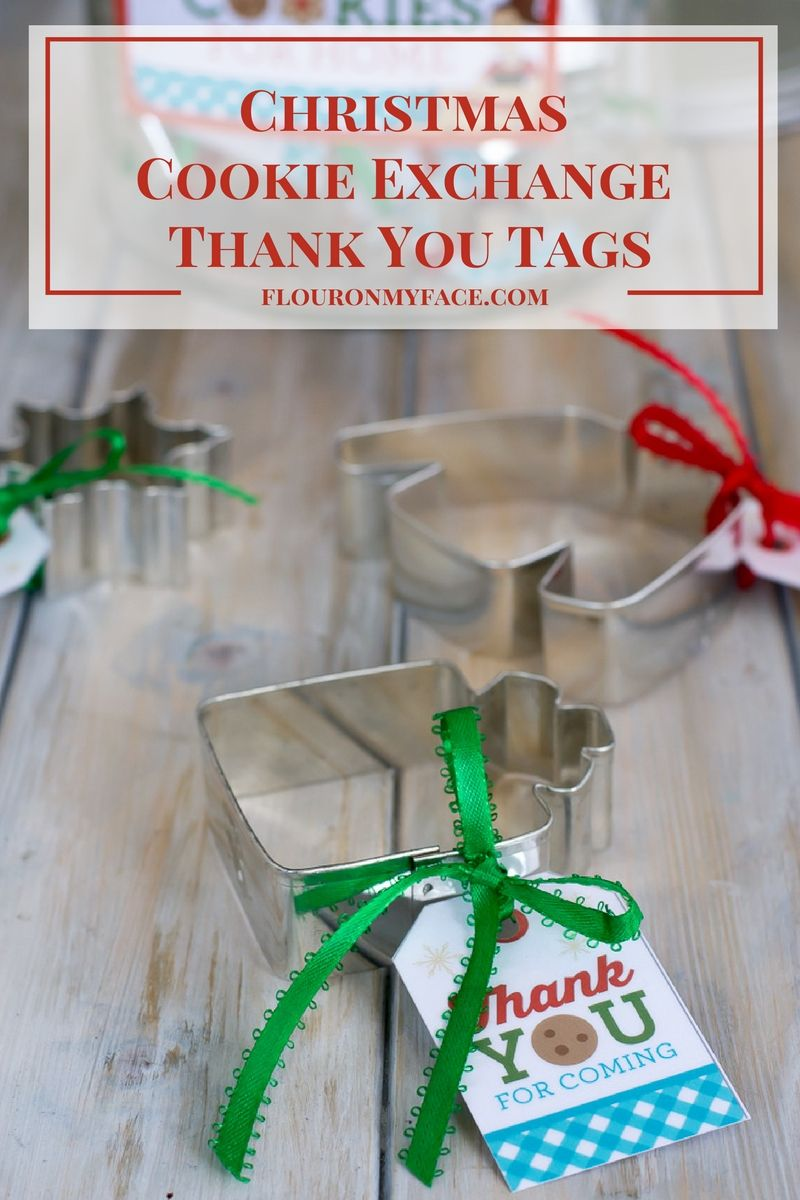 Christmas Cookie Exchange Thank You Tag Free Printable via flouronmyface.com