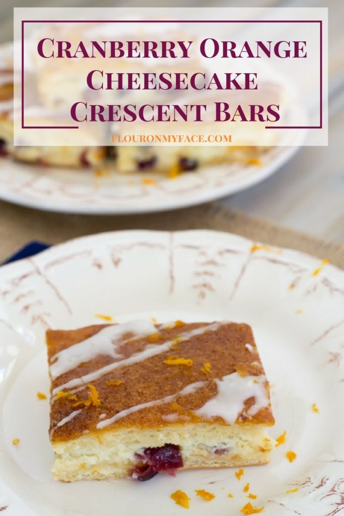 Cranberry Orange Cheesecake Crescent Bars recipe is a perfect holiday dessert recipe via flouronmyface.com easy to make with Pillsbury Crescent rolls #ad