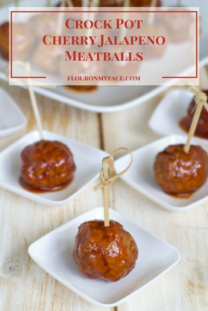 Easy Crock Pot Slow Cooker Cherry Jalapeno Meatballs is an easy holiday appetizer recipe when you need to serve finger food to your holiday guests via flouronmyface.com