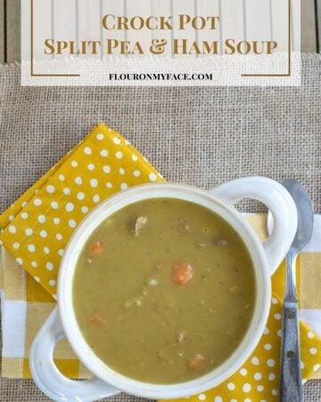 Crock Pot Split Pea Ham Soup brings back fond memories of holidays when I was a child. Get the recipe via flouronmyface.com
