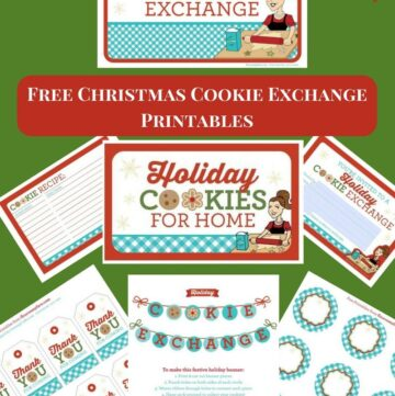 Free Christmas Cookie Exchange Printables pack for the readers of flouronmyface.com. You can download each individal Cookie Exchange printable or download the entire pack. Print these free cookie exchange printables at home.