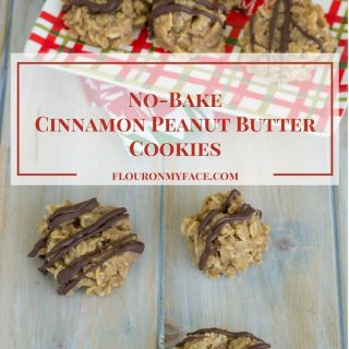 These no-bake Cinnamon Peanut Butter Cookies are perfect for the holiday baking season. They also make a great no-bake Christmas Cookie Exchange recipe via flouronmyface.com