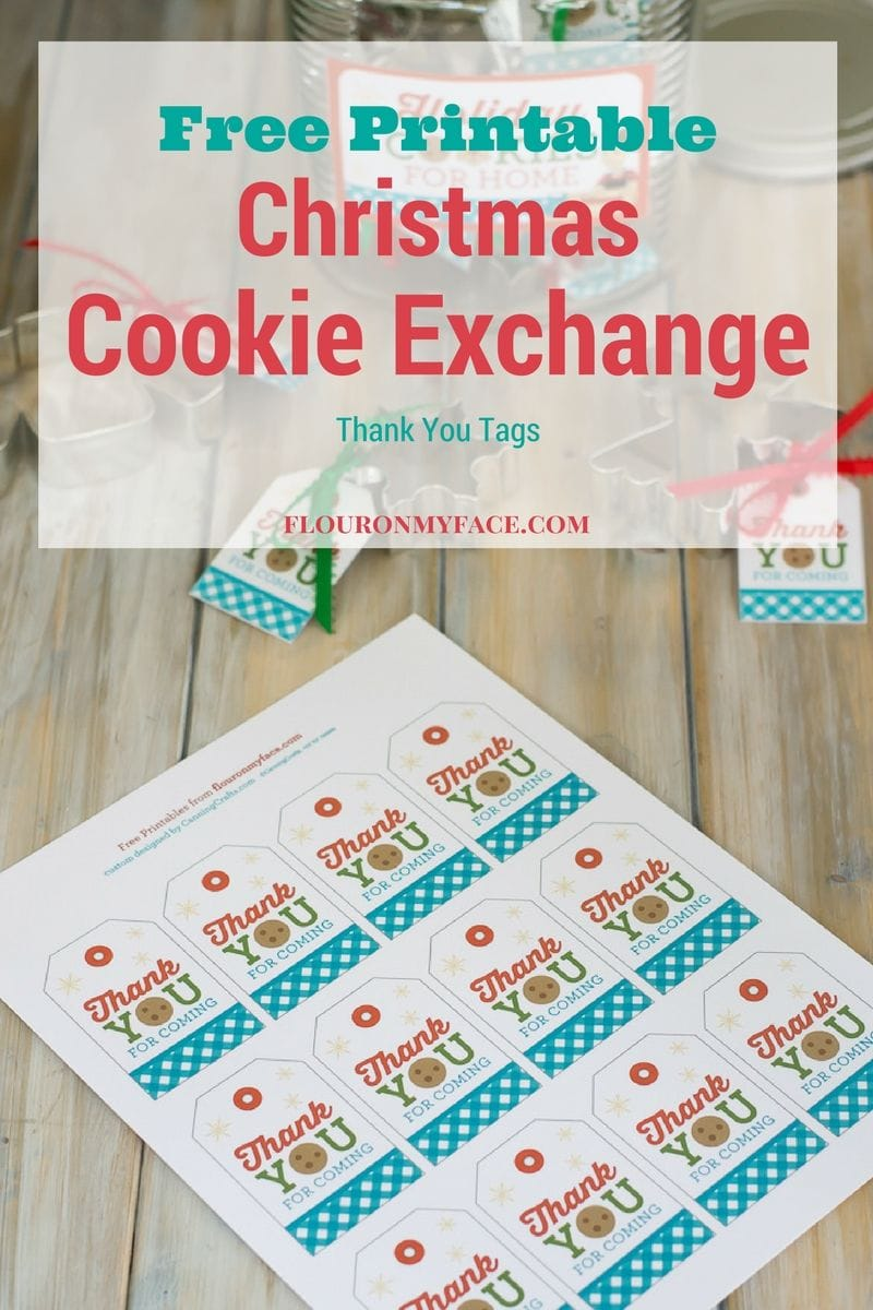 FREE Printable Christmas Cookie Exchange Gift Tags from the Flour On My Face FREE Cookie Exchange Printable Pack are perfect for making little gifts for your cookie exchange guests via flouronmyface.com