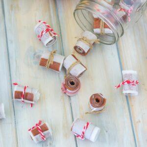Apple Cinnamon Roll Ups tied with twine.