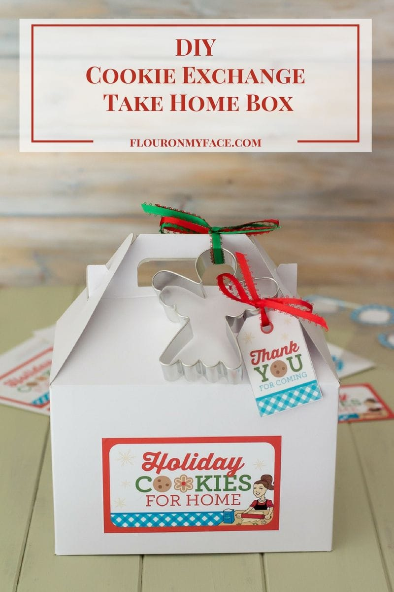 DIY Christmas Cookie Exchange Take Home Box Label via flouronmyface.com