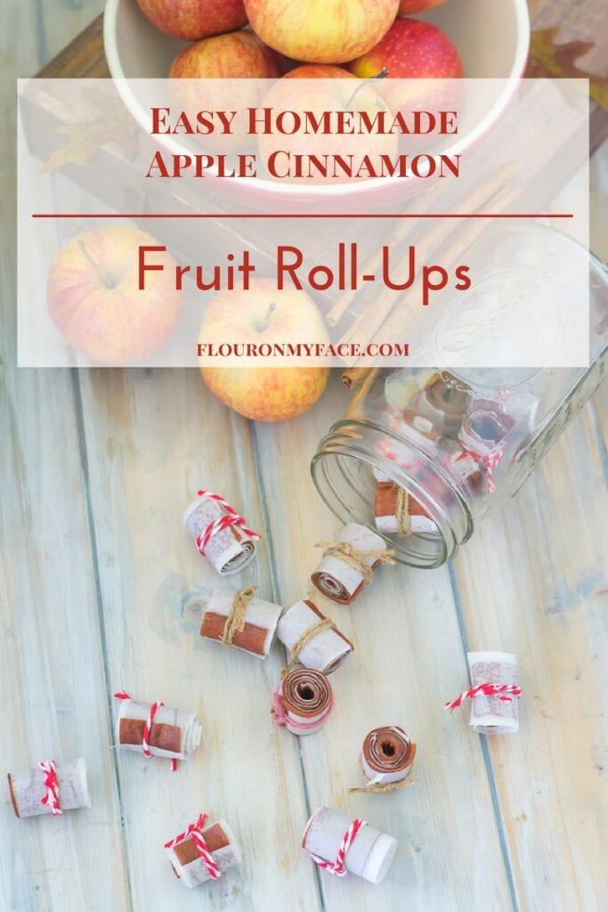 Easy homemade Apple Cinnamon Fruit Roll-Ups recipe using crock pot apple sauce via flouronmyface.com