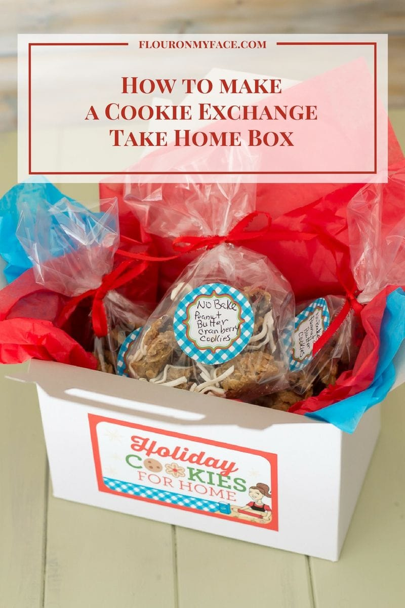 How to Make a Cookie Exchange Take Home Box with a free printable label via flouronmyface.com