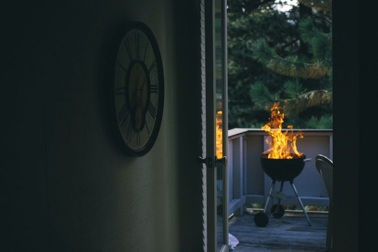 A fire pit or bbq grill can add warmth to the patio during fall or winter via flouronmyface.com
