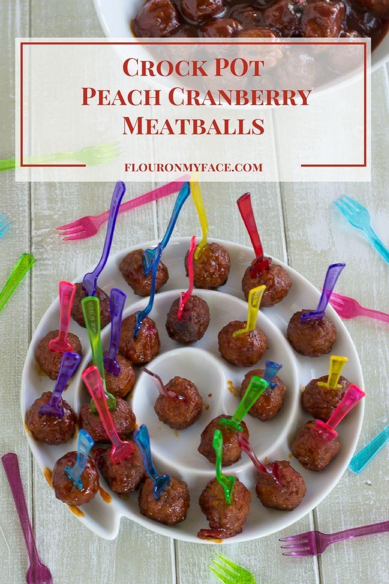 Crock Pot Peach Cranberry Meatballs recipe via flouronmyface.com