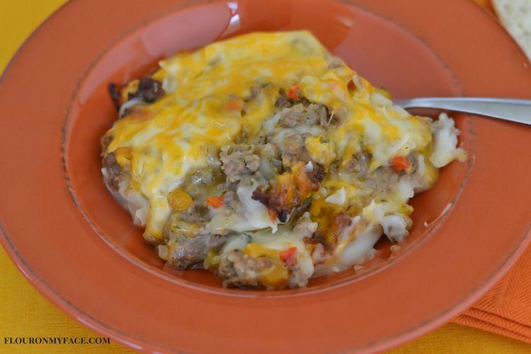 Fall Sausage Shepherd Pie recipe via flouronmyface.com #ad