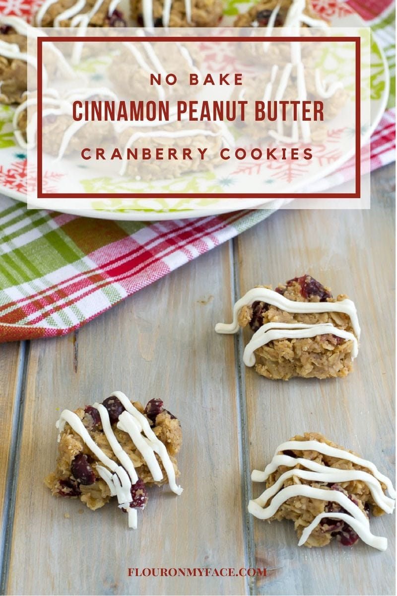 No Bake Cinnamon Peanut Butter Cranberry Cookies are perfect for your Christmas Cookie Exchange via flouronmyface.com