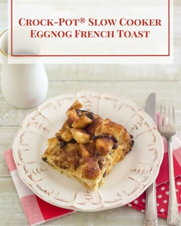Crock-Pot® Slow Cooker Eggnog French Toast recipe is perfect for Christmas morning via flouronmyface.com #ad #crockpotrecipes