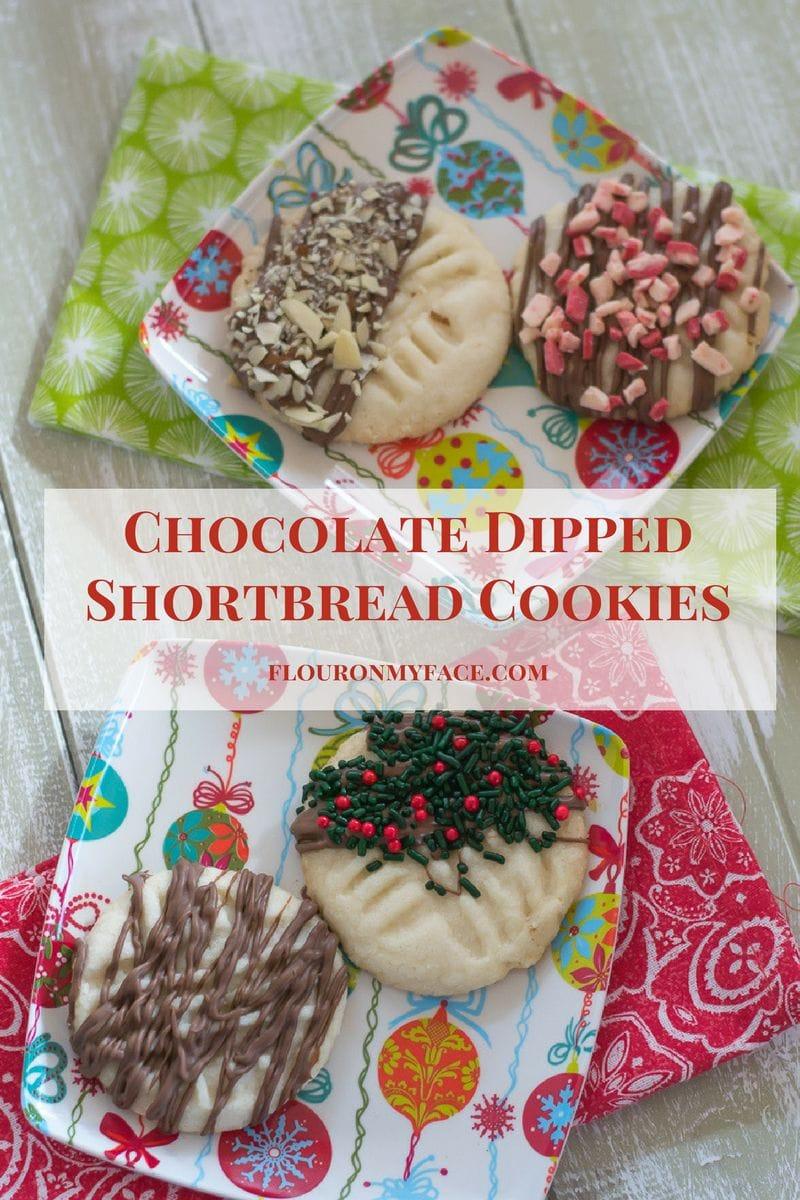 Easy Chocolate Dipped Shortbread Cookies for Christmas via flouronmyface.com