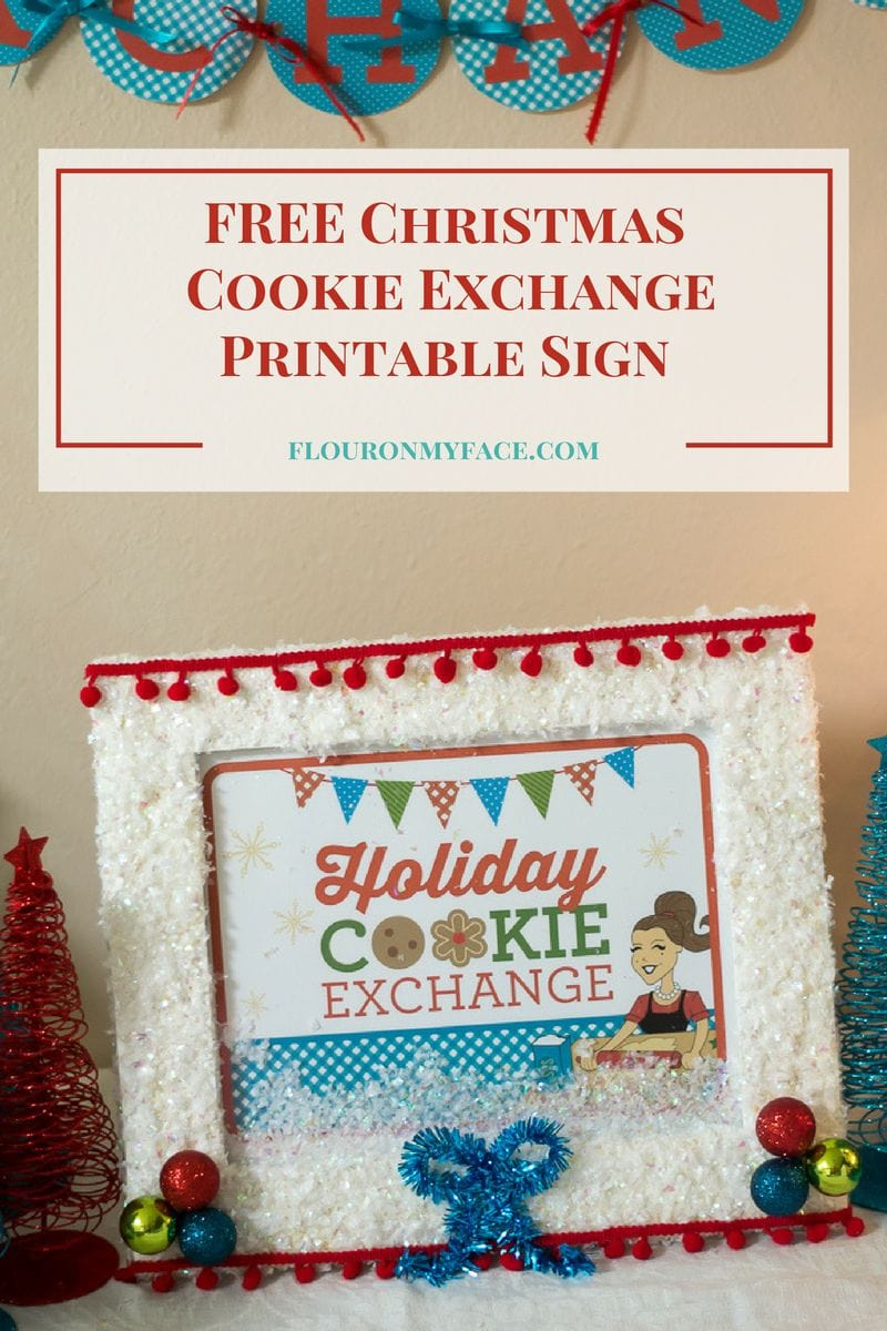 FREE Christmas Cookie Exchange Printable Sign to help you decorate for your Christmas Cookie Swap Party via flouronmyface.com Be sure to check out the entire FREE Christmas Cookie Exchange Printables Pack!