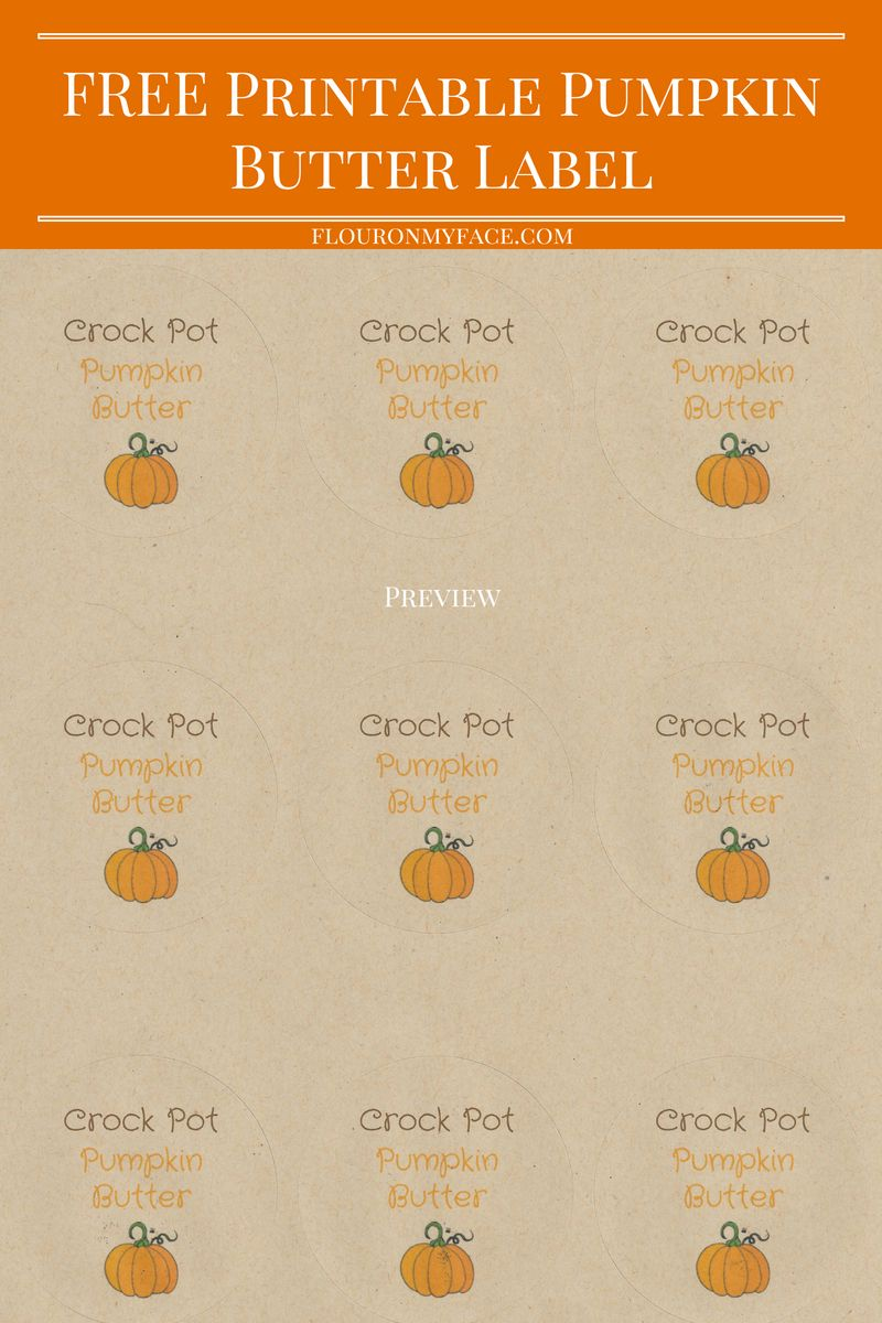 FREE Printable Pumpkin Butter Label preview via flouronmyface.com