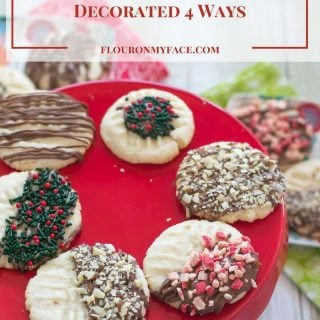 Easy Chocolate Dipped Shortbread Cookies via flouronmyface.com