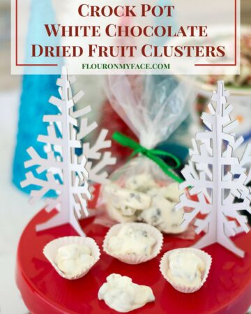 Crock Pot White Chocolate Dried Fruit Clusters recipe via flouronmyface.com