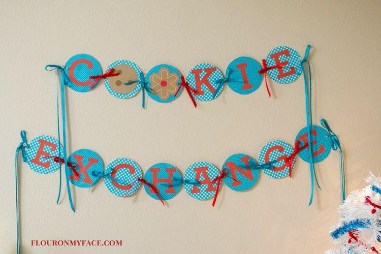 Free Printable Christmas Cookie Exchange Banner via flouronmyface.com