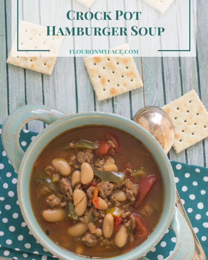 Crock Pot Hamburger Soup is a delicious and satisfying dinner on a cold winter day via flouronmyface.com