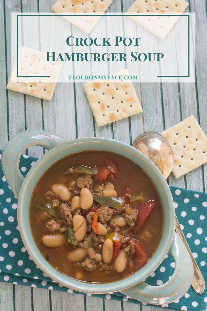 Crock Pot Hamburger Bean Soup is a delicious and satisfying dinner on a cold winter day via flouronmyface.com