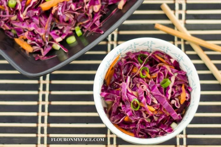 How to make Asian Slaw with red cabbage via flouronmyface.com