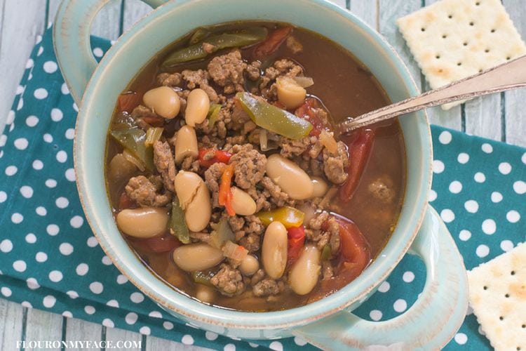 Crock Pot Slow Cooker Hamburger Bean Soup recipe via flouronmyface.com
