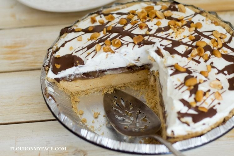 Easy No Bake Peanut Butter Cheesecake recipe via flouronmyface.com