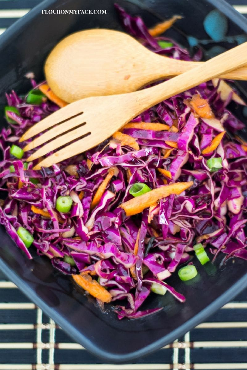 Red Cabbage Asian Slaw Recipe via flouronmyface.com