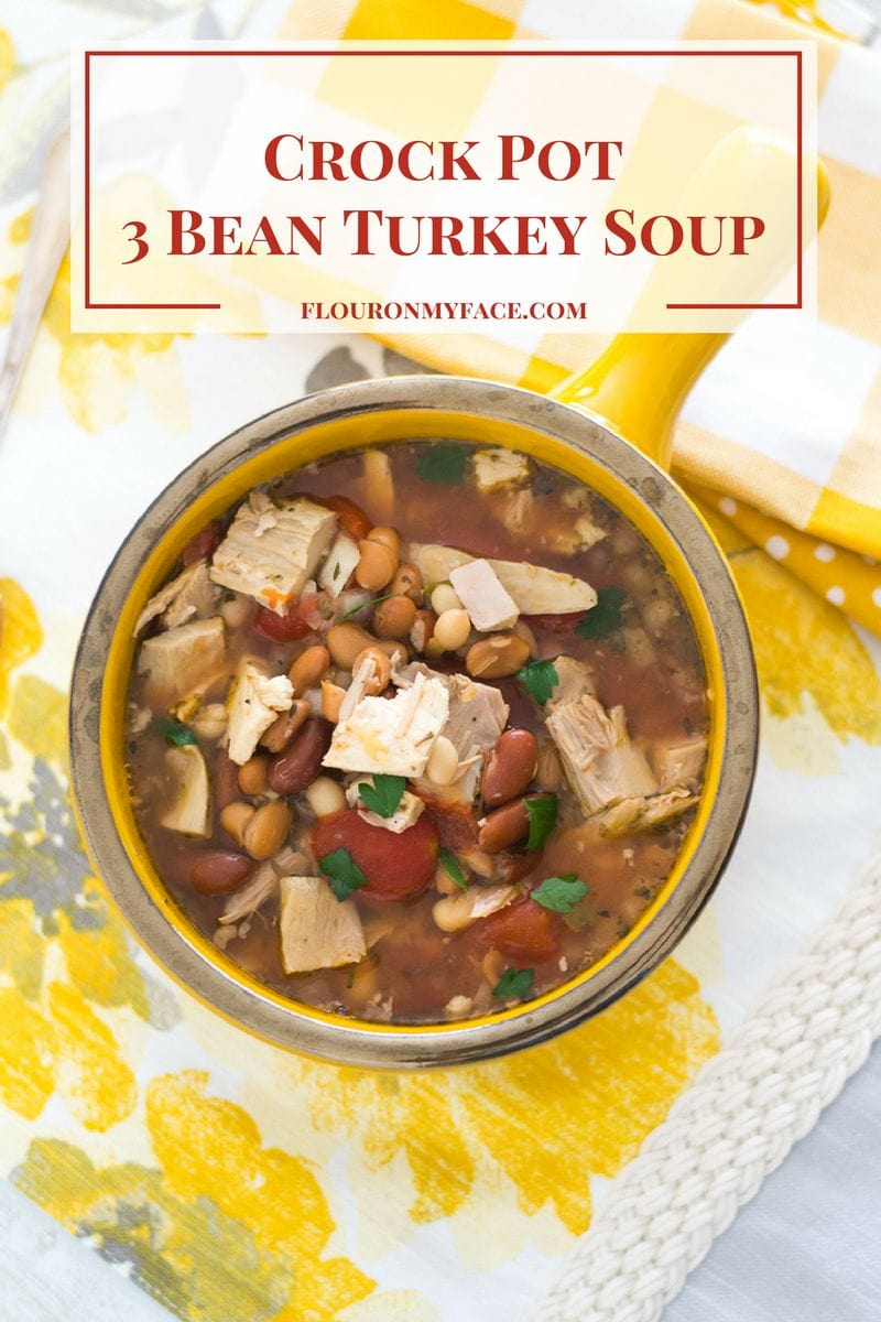 Crock Pot Three Beans Turkey Soup via flouronmyface.com
