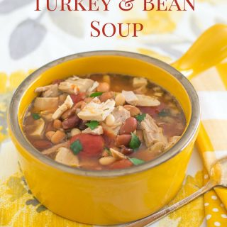 Crock Pot Turkey and Bean Soup recipe via flouronmyface.com