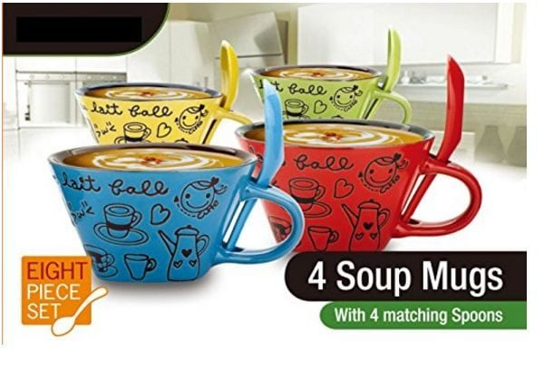 Cute 8 Piece Ceramic Soup Bowl Set with matching spoons
